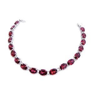 Jewelry - 14 Karat White Gold and Garnet Ladies Bracelet